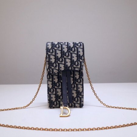 "Porta-Celular Dior Vertical Saddle ""Blue Oblique""  (PRONTA ENTREGA)"