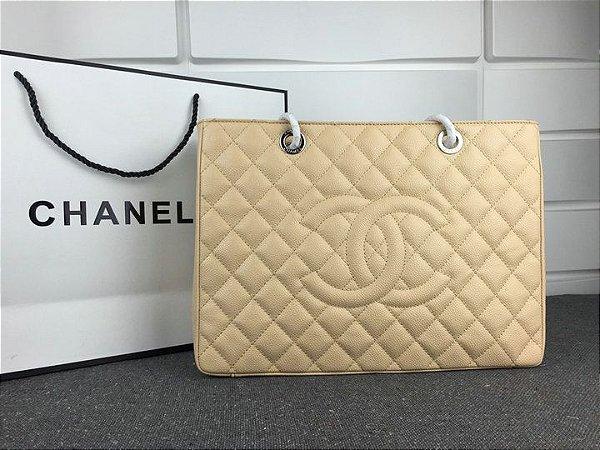 "Bolsa Chanel Shopper Tote ""Beje/Silver"" (PRONTA ENTREGA)"