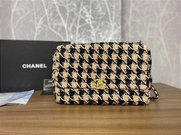 """Bolsa Chanel 19 Tweed """"Beje/Black"""" (PRONTA ENTREGA)"""