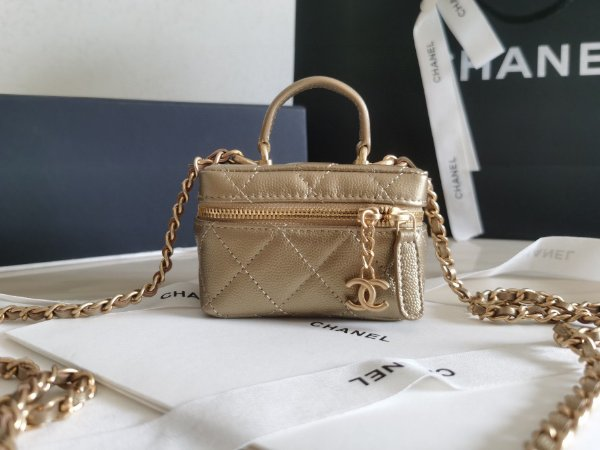 "Bolsa Chanel Mini Vanity ""Gold"""