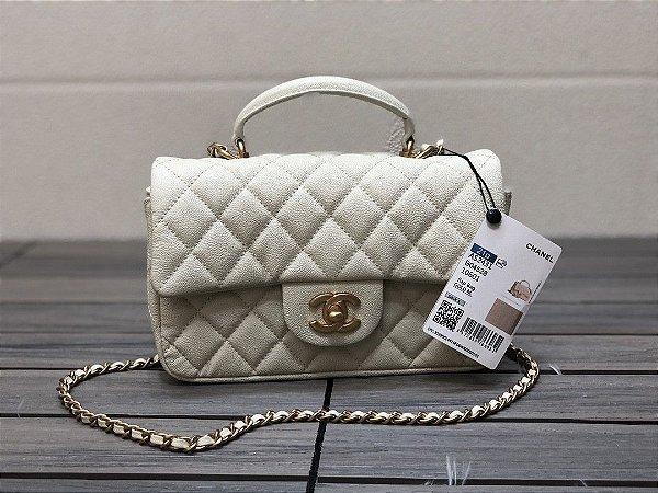 "Bolsa Chanel Mini Flap Top Handle Caviar ""White&Gold"""