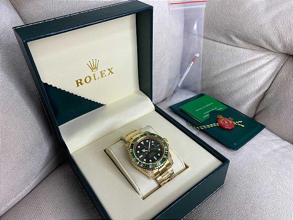 "Relógio Rolex Submariner 44 mm ""Gold-Hulk"" (PRONTA ENTREGA)"