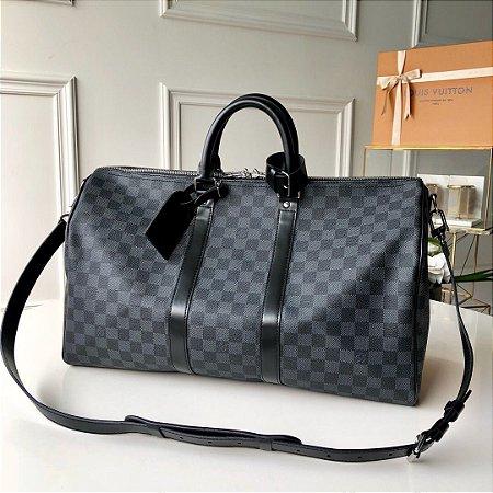 "Bolsa de Viagem Louis Vuitton Keepall 55 ""Damier Graphite Canvas"" (PRONTA ENTREGA)"