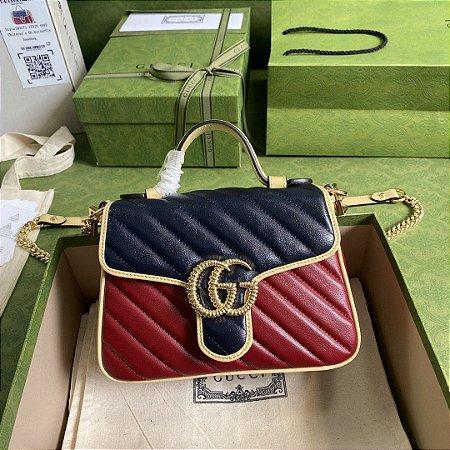 "Bolsa Gucci GG Marmont Mini Top Handle ""Blue&Red"""