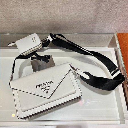 """Bolsa Prada Envelope Mini em Couro Saffiano """"White"""""""
