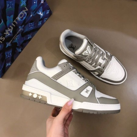 "Tênis Louis Vuitton Trainer Sneaker ""Gray"" (PRONTA ENTREGA)"