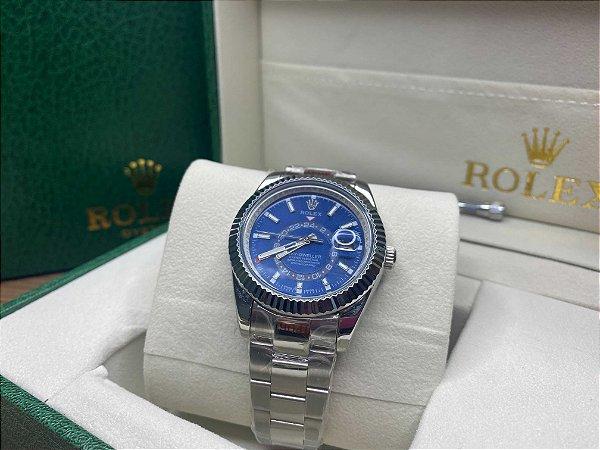 "Relógio Rolex Sky-Dweller 44 mm ""Silver/Blue"" (PRONTA ENTREGA)"
