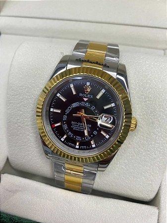 "Relógio Rolex Sky-Dweller 44 mm ""Silver/Gold"" (PRONTA ENTREGA)"