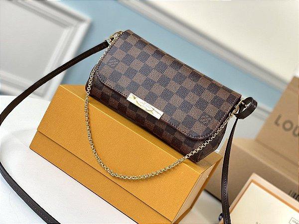 "Bolsa Louis Vuitton Favorite Damier Ébène ""Brown/Red""  (PRONTA ENTREGA)"