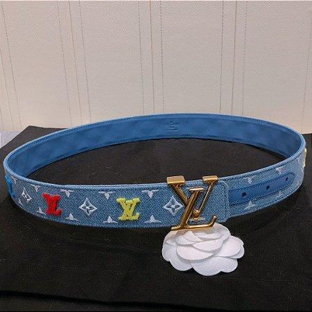 "Cinto Louis Vuitton Monogram ""Blue&Gold"""