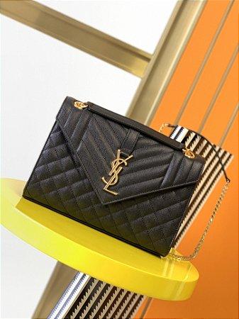"Bolsa Saint Laurent Envelope Matelassê ""Black&Gold"""