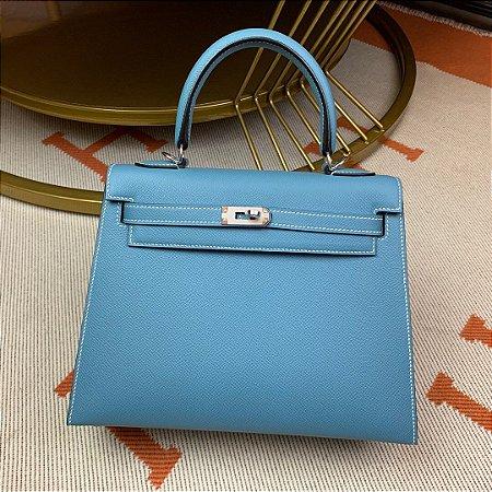 "Bolsa Hermès Kelly ""Blue&Silver"""