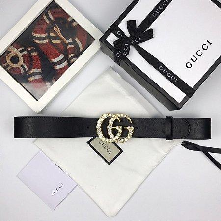 """Cinto Gucci Double GG """"Black&Gold"""" (PRONTA ENTREGA)"""