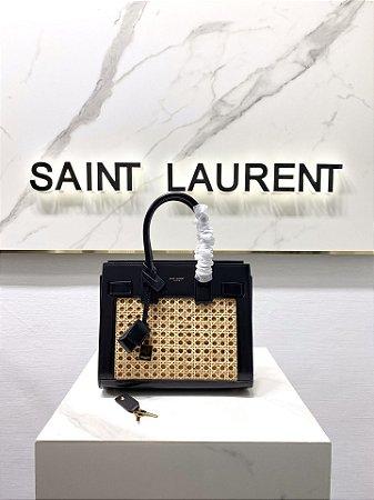 """Bolsa Saint Laurent Woven Raffia Box Tote """"Black"""""""