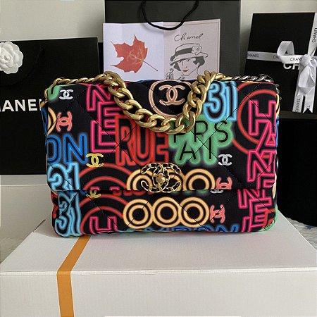 """Bolsa Chanel 19 """"Black Neon"""" (PRONTA ENTREGA)"""