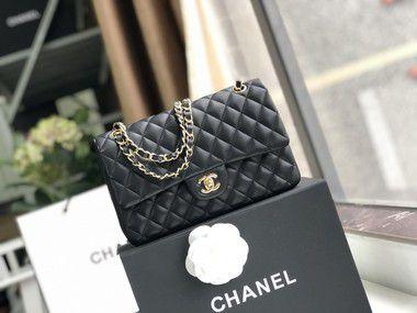 "Bolsa Chanel Double Flap Lambskin Gold Version ""Black"" (PRONTA ENTREGA)"