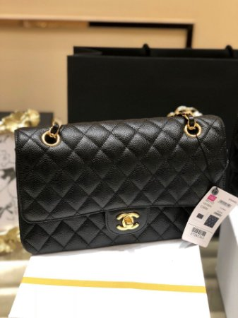"Bolsa Chanel Double Flap Caviar ""Black/Gold"" (PRONTA ENTREGA)"