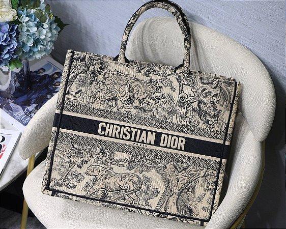 """Bolsa Tote Dior Book Toile de Jouy """"Preta"""""""
