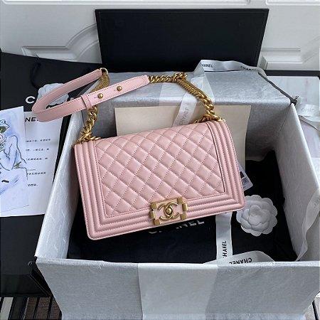 "Bolsa Chanel Boy Calf Leather ""Light Rose"""