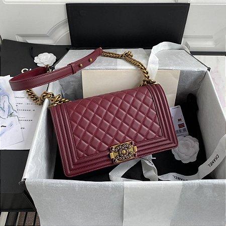 "Bolsa Chanel Boy Calf Leather ""Wine"""