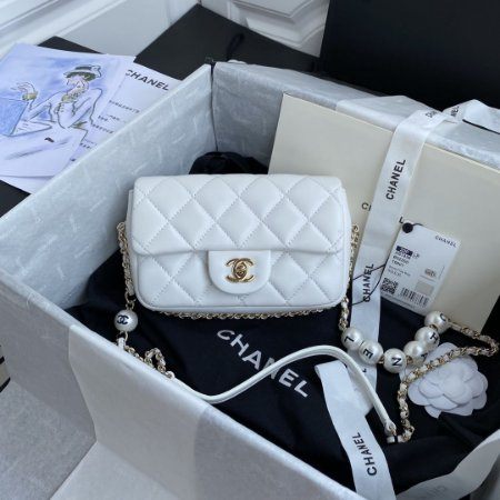 "Bolsa Chanel Single Flap ""White C-H-A-N-E-L"""