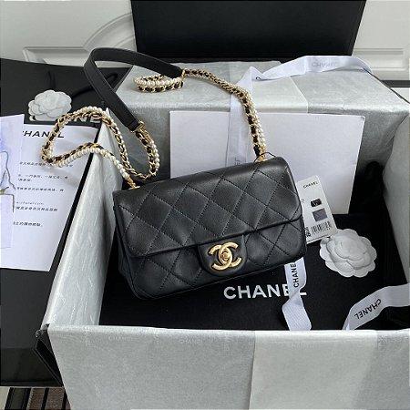 "Bolsa Chanel Single Flap ""Black & Pearls"""