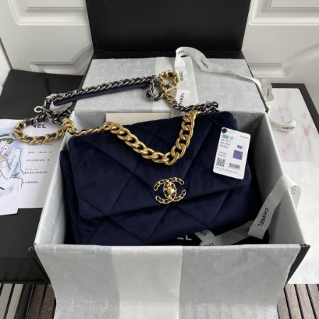"""Bolsa Chanel 19 Velvet """"Dark Blue"""""""