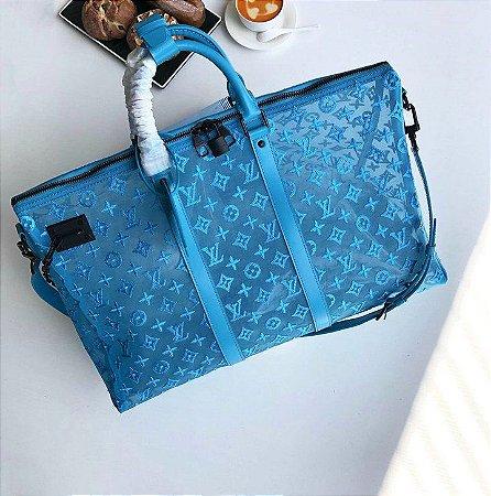 "Bolsa de Viagem Louis Vuitton Keepall Triangle 50  ""Azul-Turquesa"""