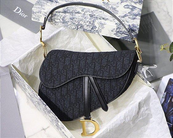 """Bolsa Dior Saddle Oblique Jacquard """"Black"""""""