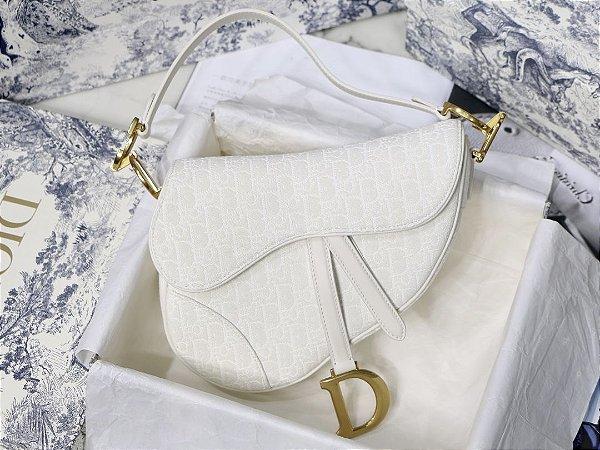 """Bolsa Dior Saddle Oblique Jacquard """"White"""""""