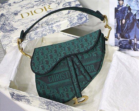 """Bolsa Dior Saddle Oblique Jacquard """"Green"""""""