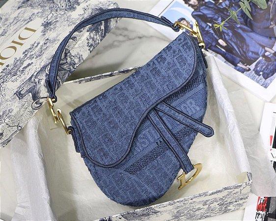 """Bolsa Dior Saddle Oblique Jacquard """"Blue"""""""