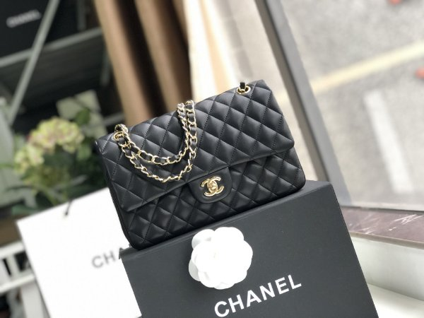 "Bolsa Chanel Double Flap Lambskin Gold Version ""Black"""