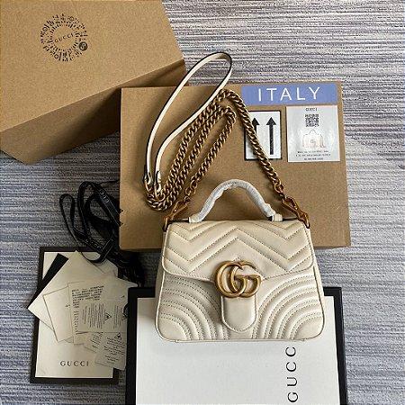 "Bolsa Gucci Top Handle GG Marmont Chevron Matelassé ""White"""