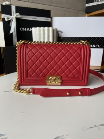 "Bolsa Chanel Boy Granulated Leather ""Red"""