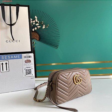 "Bolsa de Ombro Gucci GG Marmont Matelassé Chevron ""Dust Pink"""