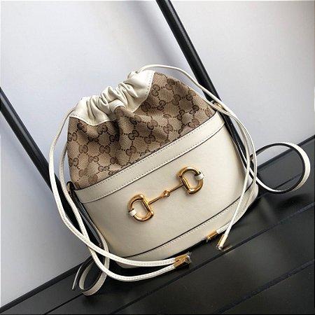 "Bucket Bag Gucci Horsebit 1955 GG Canvas ""White"""
