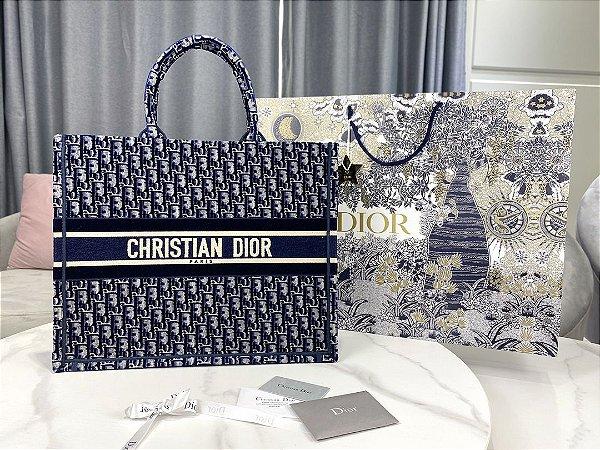 """Bolsa Tote Dior Book Velvet Oblique """"Blue"""""""