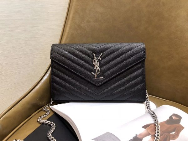 "Mini Bolsa Saint Laurent Envelope ""Black&Silver"""