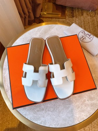 "Rasteirinha Hermès Classic ""White&Beige"""