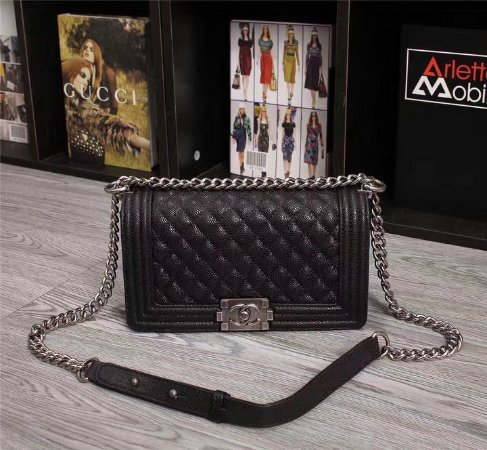 """Bolsa Chanel Boy Caviar Leather """"Black&Silver"""""""