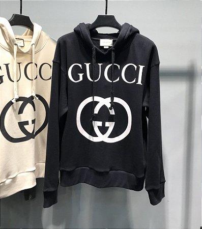 """Moletom Gucci Interlocking G com capuz """"Black/White"""" (PRONTA ENTREGA)"""