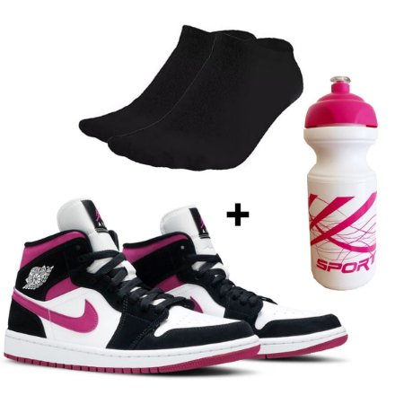 Kit Tenis botinha feminina basquete academia + garrafinha + meias
