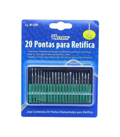 Kit Jogo Com 20 Pontas Diamantadas Para Retifica 3 Mm