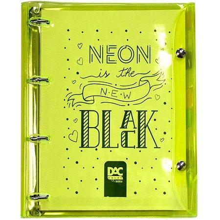 Fichário Universitário com 192 folhas Neon the New Black amarelo 4 argolas - 2396AM DAC