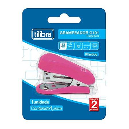 Grampeador 12 Folhas Mini Com Extrator G101 Rosa Tilibra