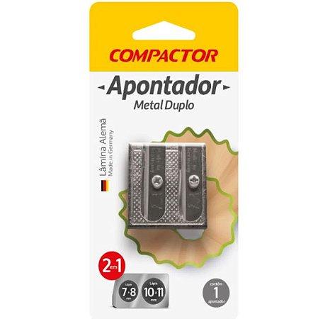 Apontador metal duplo 2 em 1 compactor
