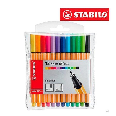 Caneta Stabilo Point 88 mini Estojo com 12 cores