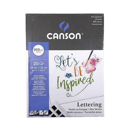 Bloco Lettering Multi-técnica Canson 20 folhas 200g/m²