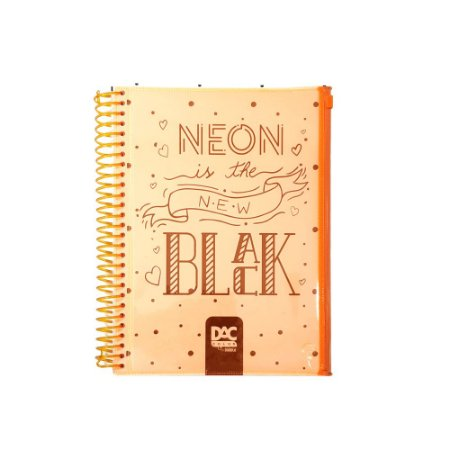 Caderno Universitário Neon 10 Matérias 160 folhas Dac Laranja 3359LR